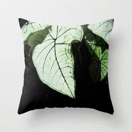 White Leaves Throw Pillow