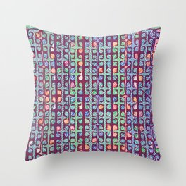 Color abstract square line print Throw Pillow