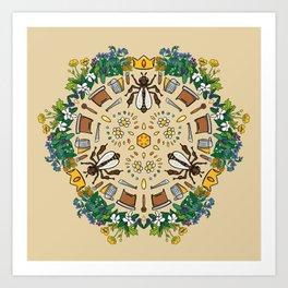 Beekeeping Mandala Art Print