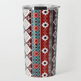 Colorful Aztec pattern with red. Travel Mug