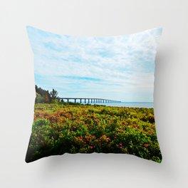 Wild Roses and the Big Bridge Throw Pillow