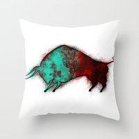 bull Throw Pillows featuring Bull by ewdondoxja