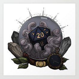 Cancer D20 - Tabletop Gaming Dice - The Astrology Collection Art Print