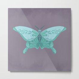 Turquoise Moth Folk Art Metal Print