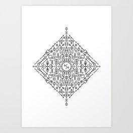 Glyphs - 02 (B&W Edition) Art Print