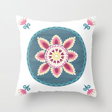 Suzani inspired floral blue 2 Throw Pillow
