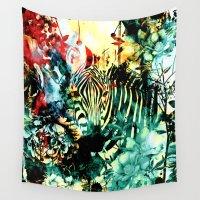 zebra Wall Tapestries featuring ZEBRA by RIZA PEKER