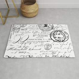 Vintage handwriting black and white Rug