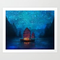 wallpaper Art Prints featuring Our Secret Harbor by Aimee Stewart