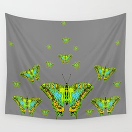 BLUE-GREEN-YELLOW PATTERNED MOTHS ON GREY Wall Tapestry