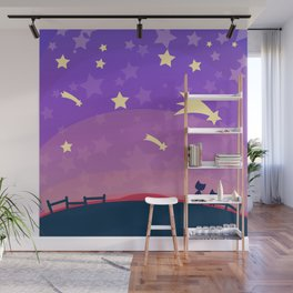 Starry sunset seen by cats Wall Mural