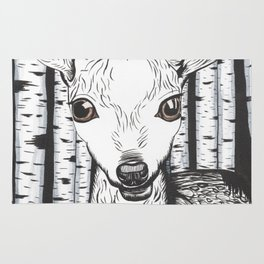 Ink and watercolor black and white doe in the forest Rug