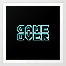 GAME OVER (blue) Art Print