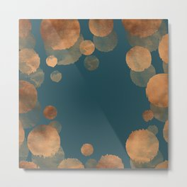 Metal Copper Dots on Emerald Metal Print