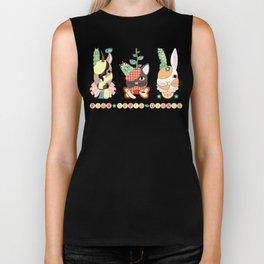 Fruit animals a pear horse, an apple cat, a mandarin orange rabbit, with green caterpillars (remake) Biker Tank