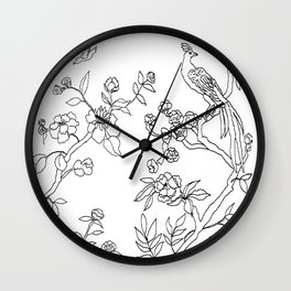 Color Your Own Chinoiserie Panels 3-4 Contour Lines - Casart Scenoiserie Collection Wall Clock