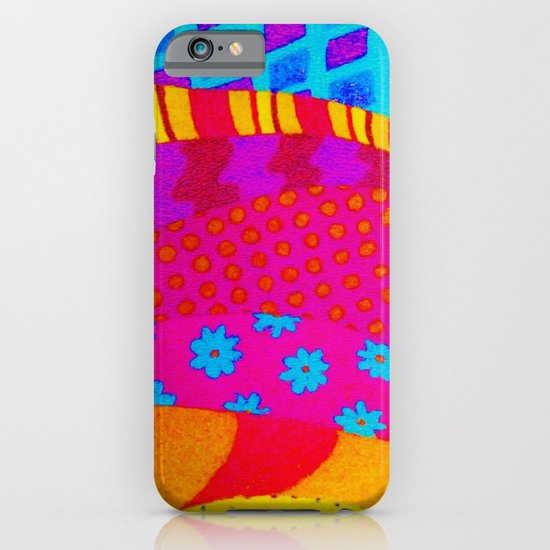 THE HIPSTER - Cool Colorful Vibrant Abstract Mixed Media Trendy Fabric Patterns Illustration iPhone & iPod Case