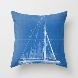 Sailboat Patent - Yacht Art - Blueprint Throw Pillow