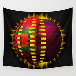 Red Layered Star in Golden Flames Wall Tapestry