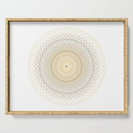 Golden geometry on white Serving Tray