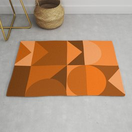 Desert Vibes Geometric Shapes in Terracotta and Burnt Orange Rug