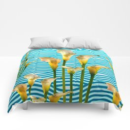 Calla Lilies  Blue Rippling Water Graphic Art Comforters