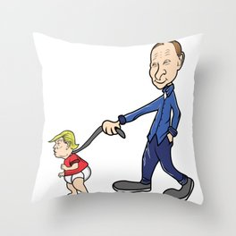 Putin Trump Leash Russia Satire Funny Gift Throw Pillow