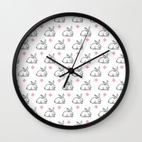 bunnies Wall Clocks featuring BUNNIES by pattern society