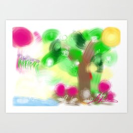The pond and the tree Art Print
