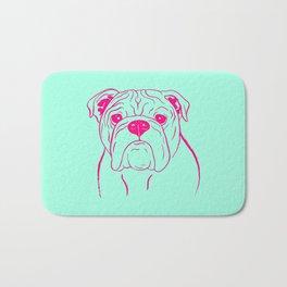 English Bulldog (Mint and Hot Pink) Bath Mat