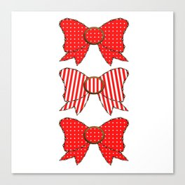 Candy Cane Bows  Canvas Print
