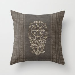 Vegvisir and Tree of life  - Yggdrasil Throw Pillow
