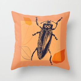 Beetle colors and leafs Throw Pillow