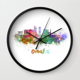 Omaha V2  skyline in watercolor  Wall Clock