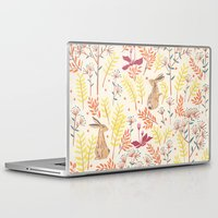 rabbits Laptop & iPad Skins featuring rabbits field by Dao Linh