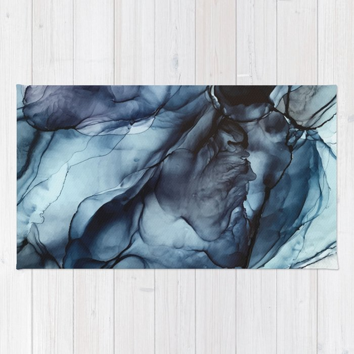 Blush and Darkness Abstract Paintings Rug
