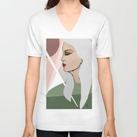 silver V-neck T-shirts featuring Silver by Kuralay
