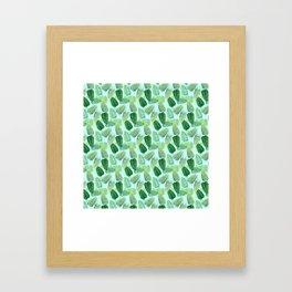 Summer Leaves - Blue Background Framed Art Print