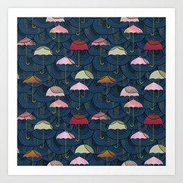 Rainclouds and Umbrellas Art Print
