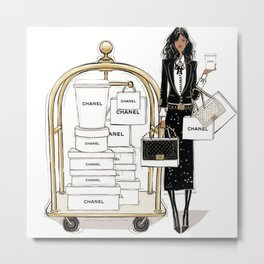 Meet Co Co at my Hotel Room Fashion Illustration Metal Print