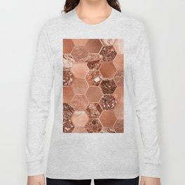 Rose gold hexaglam blonde Long Sleeve T-shirt