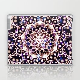 'Glowing Namaste' Blue Purple Pink White Mandala Laptop & iPad Skin