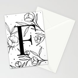 Black Letter F Monogram / Initial Botanical Illustration Stationery Cards