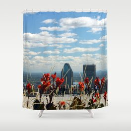 Flowers reaching for a Montreal Sky Shower Curtain
