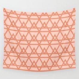 Pyramidal - Geometric Minimalist Pattern in Peachy Pink Wall Tapestry