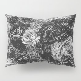 Flower Wall // Black and White Flat Floral Accent Background Jaw Dropping Decoration Pillow Sham