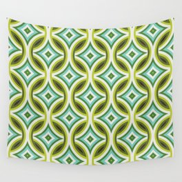 Green, Turquoise & Brown Circular Geometric Retro Pattern Wall Tapestry