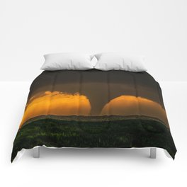 Silhouette - Large Tornado at Sunset in Kansas Comforters