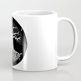 black and white tree of life with moon phases and celtic trinity knot Coffee Mug