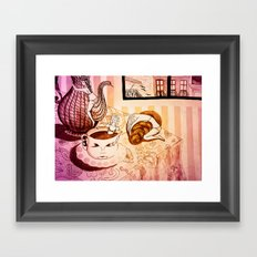 purple sleepy breakfast Framed Art Print